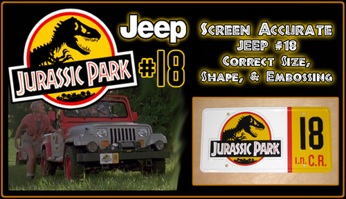 JURASSIC PARK - Jeep 18 - Movie Prop Replica Metal Stamped License Plate