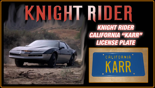 """KNIGHT RIDER (1980s TV Series) - """"KARR"""" - Prop Replica Metal Stamped License Plate"""