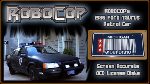 ROBOCOP - RoboCop's Patrol Car - Movie Prop Replica Metal Stamped License Plate