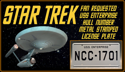 STAR TREK - NCC-1701 - Full Size Metal Stamped License Plate