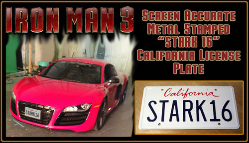 "IRON MAN 3 (Marvel Movie) - ""STARK 16"" - Prop Replica Metal Stamped License Plate"