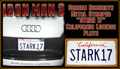 "IRON MAN 3 (Marvel Movie) - ""STARK17"" - Prop Replica Metal Stamped License Plate"