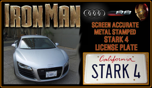 "IRON MAN (Marvel Movie) - ""STARK 4"" - Tony Stark's Audi R8 Prop Replica Metal Stamped License Plate"