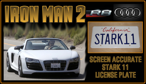 "IRON MAN 2 (Marvel Movie) - ""STARK 11"" - Tony Stark's Audi R8 Prop Replica Metal Stamped License Plate"