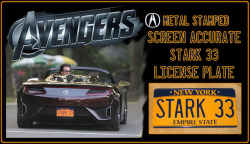"The AVENGERS (Marvel Movie)  - ""STARK 33"" - Tony Stark's  Acura New York Prop Replica Metal Stamped License Plate"