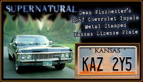"SUPERNATURAL TV Series - ""KAZ 2Y5"" - Prop Replica Metal Stamped License Plate"