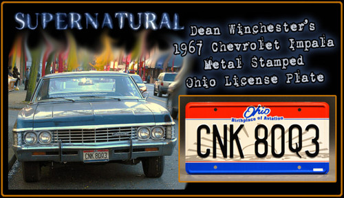 "SUPERNATURAL TV Series  - ""CNK 80Q3"" - Prop Replica Metal Stamped License Plate"