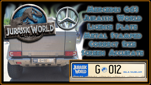 JURASSIC WORLD - G 012 - Movie Prop Replica Metal Stamped License Plate (Last few)