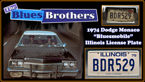 "The BLUES BROTHERS (Bluesmobile) - ""BDR529"" - Prop Replica Metal Stamped License Plate"