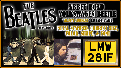 "The BEATLES ABBEY ROAD Album Cover - ""LMW28IF"" - Replica Metal Stamped License Plate"