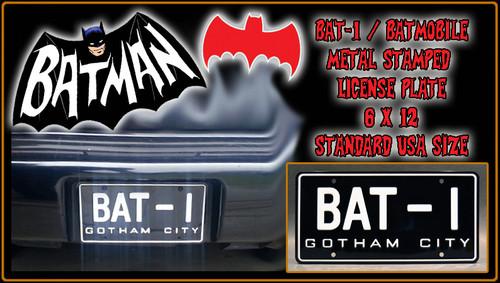 "BATMAN TV Series - ""BAT-1"" - Prop Metal Stamped License Plate (US Full Size)"