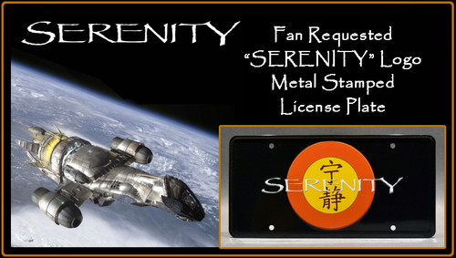 "SERENITY - ""SERENITY"" - Full Size Metal Stamped License Plate"