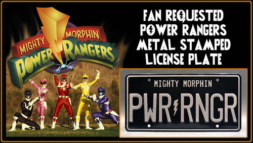 """Mighty Morphin POWER RANGERS - """"PWR RNGR"""" - Metal Stamped License Plate"""