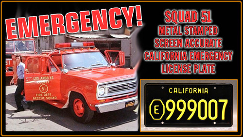 """EMERGENCY! (1970s TV Series) Squad 51 Rescue - """"E999007"""" - Prop Replica Metal Stamped License Plate"""