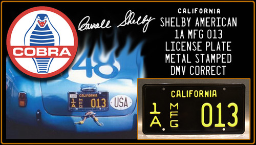 "License Plate - COBRA - ""1A MFG 013"""
