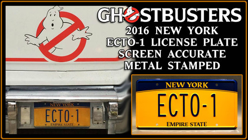 "GHOSTBUSTERS  ""ECTO-1"" (2016) - Prop Replica Metal Stamped License Plate"
