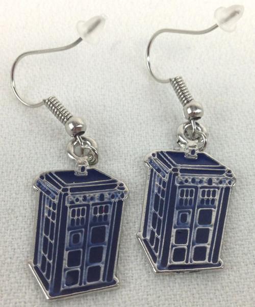 Doctor Who: 2D TARDIS Metal Dangle Style Earrings