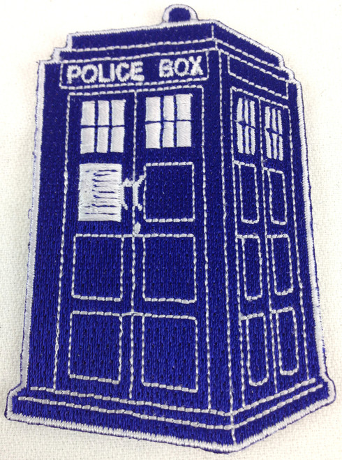 Doctor Who: TARDIS (with Exposed Stitching Design) Iron On Patch