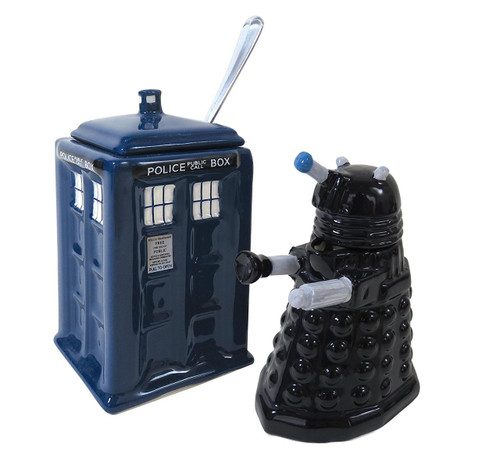 TARDIS and Dalek Doctor Who Cream and Sugar Set