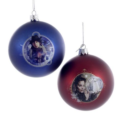 Doctor Who Shatterproof ball Christmas Ornaments - Set of 2: Clara (Jenna Coleman) and the 4th Doctor (Tom Baker)