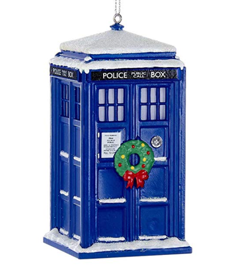Kurt Adler Doctor Who TARDIS Light Up Christmas Ornament with Wreath