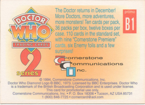 Doctor Who: Cornerstone Series 2 Trading Card PROMO - B1
