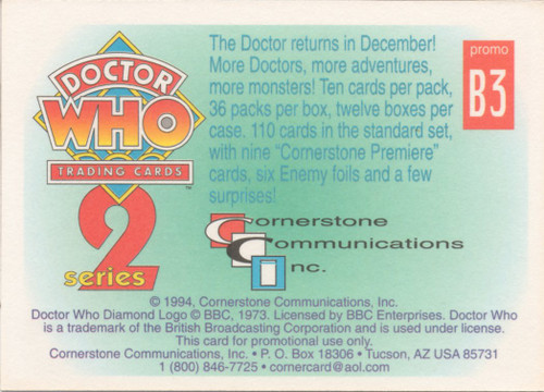Doctor Who: Cornerstone Series 2 Trading Card PROMO - B3