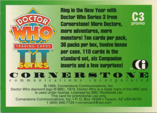 Doctor Who: Cornerstone Series 3 Trading Card PROMO - C3