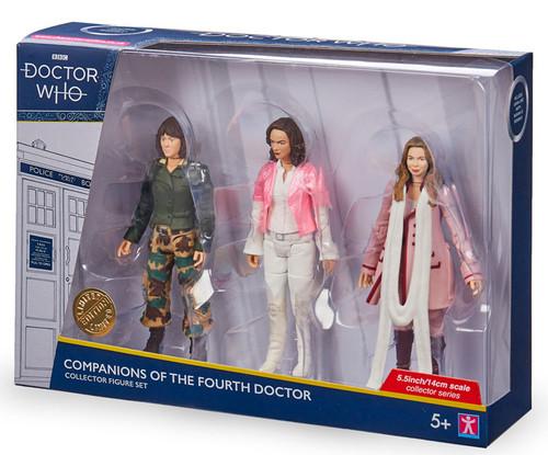 DOCTOR WHO: Companions of the 4th Doctor (Tom Baker) Action Figure Set of 3 (Sarah Jane - Romana - Romana II) Character Options