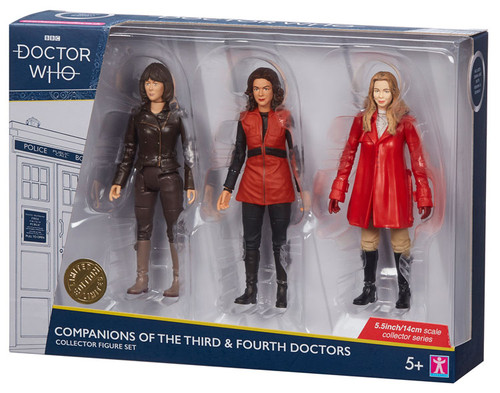 DOCTOR WHO: Companions of the 3rd & 4th Doctor (Tom Baker) Action Figure Set of 3 (Sarah Jane - Romana - Romana II) Character Options