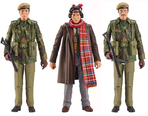 DOCTOR WHO: TERROR OF THE ZYGONS - U.N.I.T.  - Action Figure Set of 3 (4th Doctor - Sgt. John Benton - UNIT Trooper) Character Options