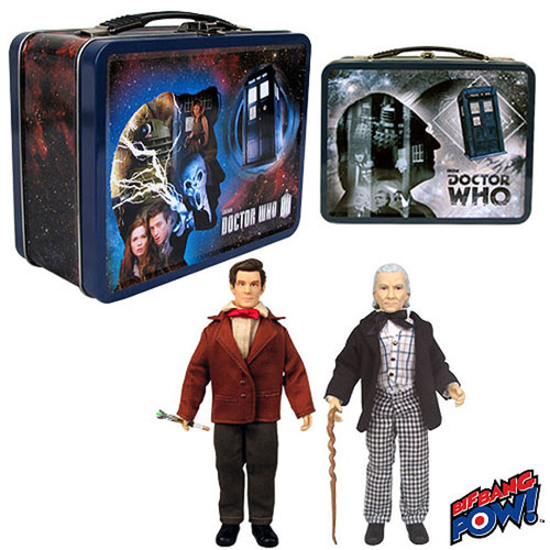 """Doctor Who: Retro 1970's MEGO Style 8"""" Figure Set (Hartnell & Smith) in a Limited Edition Tin Tote - from Bif Bang Pow"""