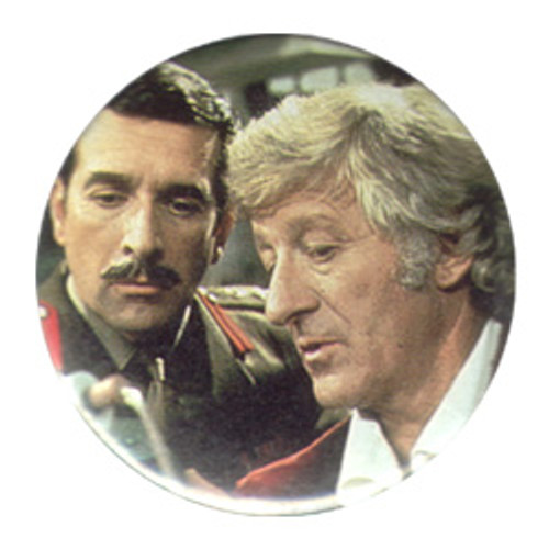Doctor Who Vintage 1980's Button - 3rd Doctor (Jon Pertwee) with the Brigadier