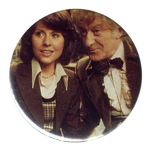 Doctor Who Vintage 1980's Button - 3rd Doctor (Jon Pertwee) with Sarah Jane Smith (E. Sladen)