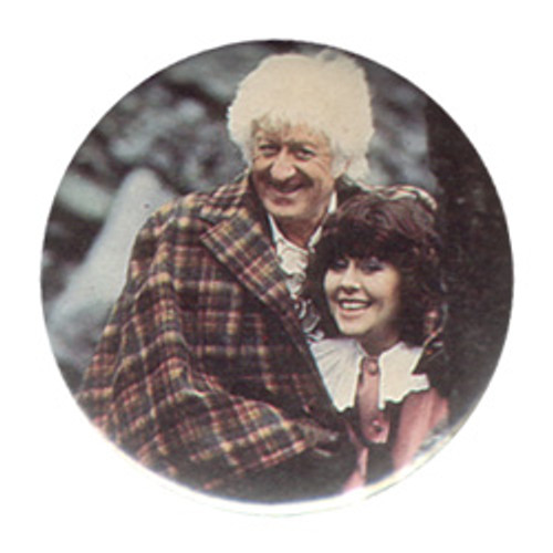 Doctor Who Vintage 1980's Button - 3rd Doctor (Jon Pertwee) and Sarah Jane Smith from 5 Doctors