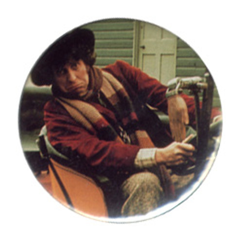 Doctor Who Vintage 1980's Button - 4th Doctor (Tom Baker) in Bessie
