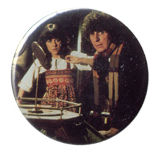 Doctor Who Vintage 1980's Button - 4th Doctor (Tom Baker) with Sarah Jane (Elizabeth Sladen)
