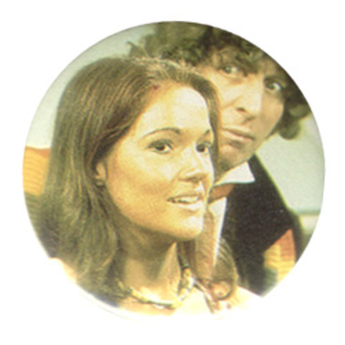 Doctor Who Vintage 1980's Button - 4th Doctor (Tom Baker) with Leela (Louise Jameson)