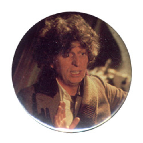 Doctor Who Vintage 1980's Button - 4th Doctor (Tom Baker) with his hands up