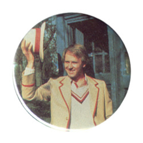 Doctor Who Vintage 1980's Button - 5th Doctor (Peter Davison) holding up hat