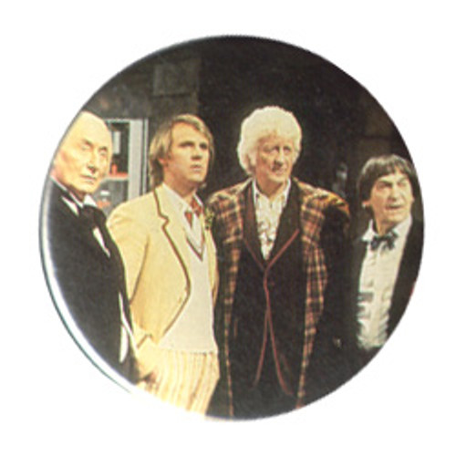 Doctor Who Vintage 1980's Button - 4 Doctors (from The Five Doctors)