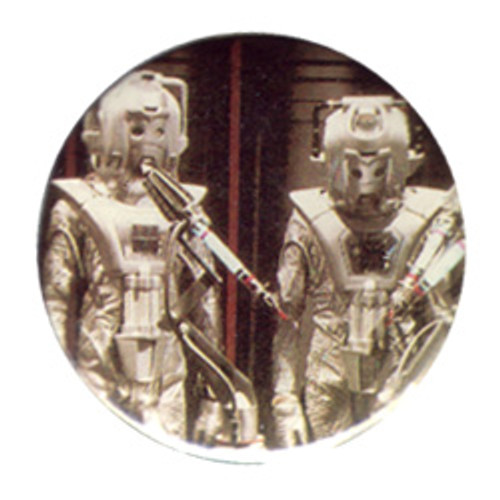 "Doctor Who Vintage 1980's Button - Cybermen from the episode ""Earthshock """