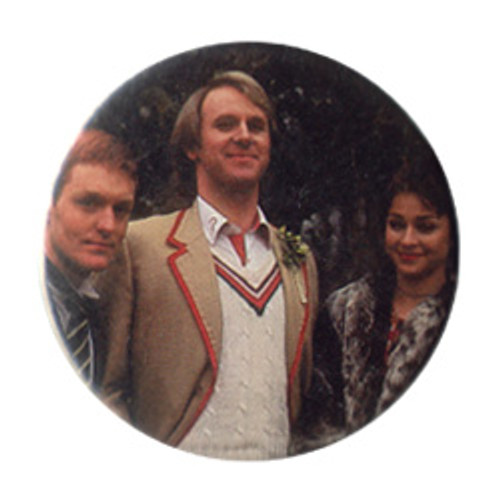 Doctor Who Vintage 1980's Button - 5th Doctor (Peter Davison) with Turlough & Tegan