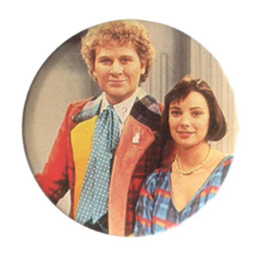 Doctor Who Vintage 1980's Button - 6th Doctor (Colin Baker) & Peri (Nicola Bryant)