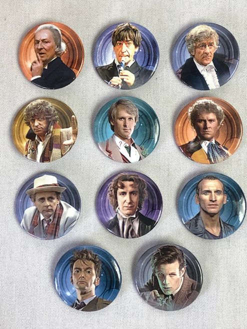 "Doctor Who Set of 11 Doctors - 1.25"" Buttons from 2013 by Culturenik"