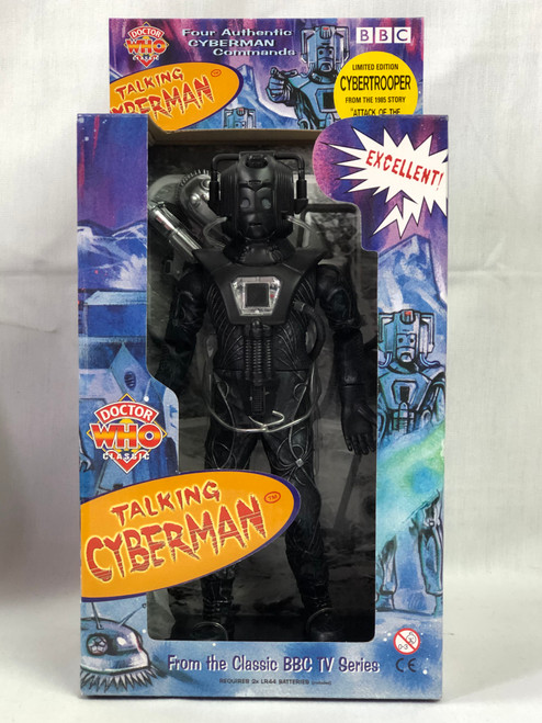 """Doctor Who TALKING STEALTH CYBERMAN TROOPER (Black) from """"Attack of the Cybermen"""" figure by Product Enterprise"""