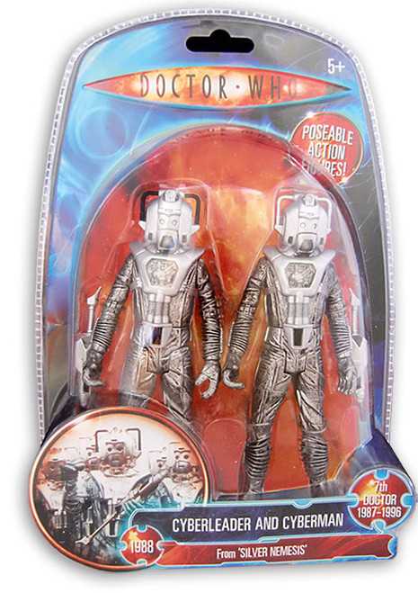 Doctor Who: SILVER NEMESIS - Cyberleader and Cyberman - Classic Series - Character Options Action Figure Set