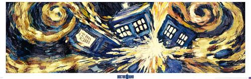 """Doctor Who: EXPLOADING TARDIS (Van Gogh) - Large Door Poster - 62"""" X 21"""""""