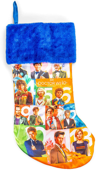 Doctor Who 13th Doctors (Hartnell to  Whittaker) 18 inch  Christmas Stocking