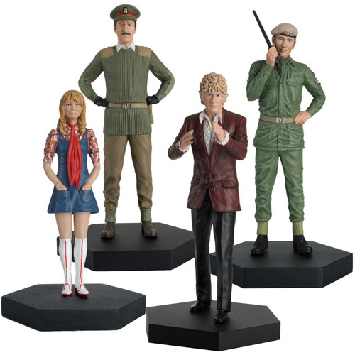 Doctor Who: Companion Set #12 (THIRD DOCTOR with the members of the UNIT (Jo Grant - Brigadier - Benton) - Eaglemoss 1:21 Scale Figurine Boxed Set